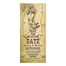 cowboy boots vintage save the date cards invitation card