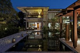 courtyard home water feature lighting courtyard house by hiren patel architects