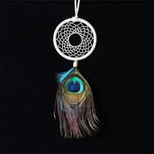 Peacock Decoration Aliexpress Com Buy Handmade Dream Catcher Net Peacock Feather