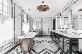 Mirrored Bathrooms Black Mirrored Bathroom Vanity With Black And White Marble