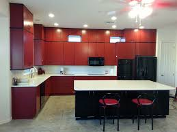 lately phoenix kitchen remodel red cabinets black island white
