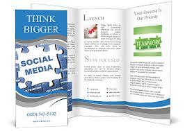 social media brochure template social media blue puzzle brochure template on freebie