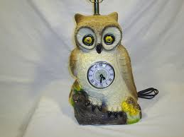 Owl Table L Vintage Owl Table L With Clock Chalkware 1982 Retro Kitchy Boho