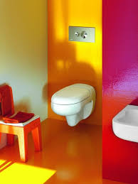cute colorful bathroom ideas for children with wall mount toilet