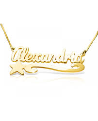 The Name Necklace Star U0026 Swirl Name Necklace Gold Plated Neckless With Name