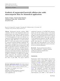 synthesis of regenerated bacterial cellulose zinc oxide