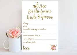 bridal advice cards advice for the and groom bridal shower printable