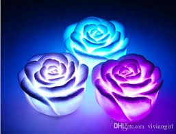 different color roses changeable color led flower candle lights smokeless