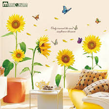 Sunflower Decorations Maruoxuan 2017 New Arrival Sunflower Wall Stickers Living Room