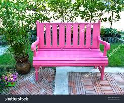 Chair In Garden Pink Bench Garden Stock Photo 90858785 Shutterstock