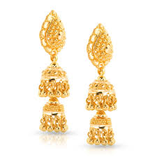 gold jhumka hoop earrings leena beaded gold jhumkas jewellery india online caratlane