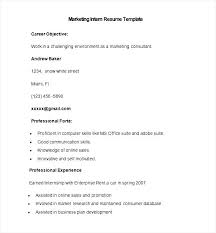 Marketing Intern Resume Sample by Sample Marketing Intern Resume Template Free Samples Examples