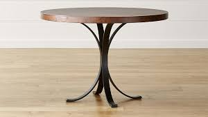 crate and barrel farmhouse table copper top tables modern cobre 42 round iron bistro table with crate