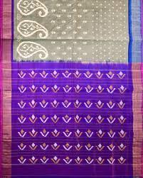 Shades Of Black Ikat Rajakot Type Silk Saree With Mixed Shades Of Black And White