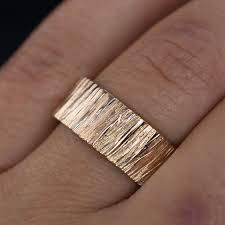 wide wedding bands saw cut texture wedding band in gold