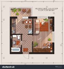 One Bedroom Apartments Floor Plans by Architectural Color Floor Plan Bedroom Apartment Stock Vector