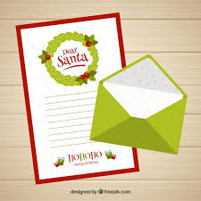 dear santa letter template with a green envelope vector free