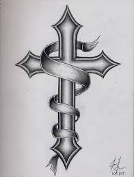 black and grey cross with ribbon design tattoos