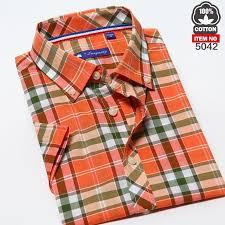 langmeng 2016 new men shirt 100 cotton summer short sleeve plaid