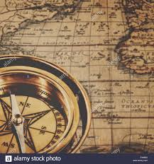 Map Of Usa With Compass Antique Brass Compass Over Old Usa Map Stock Photo Royalty Free