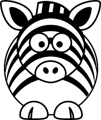 cartoon zebra black white line coloring sheet colouring page