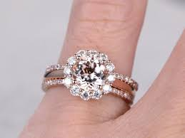 plain engagement ring with diamond wedding band 3pc morganite engagement ring set moissanite floral halo plain