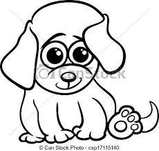 eps vector baby puppy cartoon coloring black white