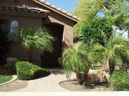 Modern Front Yard Desert Landscaping With Palm Tree And Front Yard Desert Landscape Ideas Desert Home Landscaping Ideas