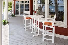 Outdoor Pub Style Patio Furniture Amazon Com Polywood Ccb30bl Captain Bar Chair Black Garden