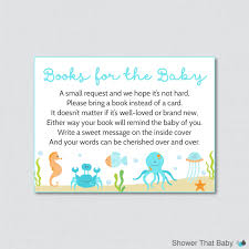 Baby Shower Invitations Bring A Book Instead Of Card Under The Sea Baby Shower Printable Bring A Book Instead Of A