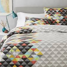 geometric pattern bedding art grey duvet cover and shams