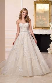 wedding dresses lace ball gown with sparkly belt stella york