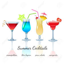 margarita clip art summer cocktails set isolated cosmopolitan blue lagoon pina