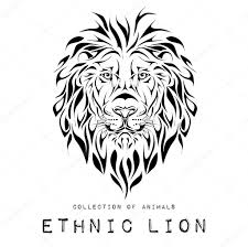 lion print ethnic black head of lion totem tattoo design use for print