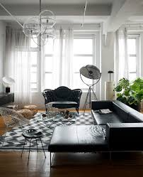 new york black leather sofa living room victorian with settee