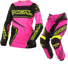 womens motocross gear packages pink yellow kit oneal element 2017 racewear ladies motocross