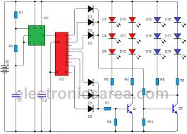 police style strobe light circuit using 555 and 4017 electronics