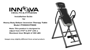 innova heavy duty inversion table innova fitness itx9600 inversion table installation guide youtube