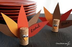 cork turkey place cards family crafts