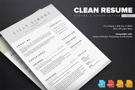 Resume Indesign Template Clean Resume Template Vol 3 Resume Templates Creative Market