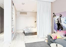 separation de chambre idee separation studio rideaux blancs chambre coucher sol en