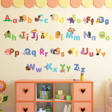amazon com animal alphabet wall decals baby and toddler wall amazon com animal alphabet wall decals baby and toddler wall decor fun abc wall stickers for nursery and kids rooms home kitchen