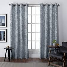 Silver And Blue Curtains Amazon Com Exclusive Home Curtains Finesse Grommet Top Window