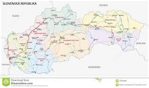Slovakia Map Road And Administrative Map Of Slovakia Stock Illustration Image