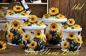 sunflower canister sets kitchen amazon com sunflower kitchen canisters 4 pc canisters sunflower
