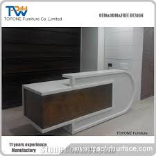 White Curved Reception Desk China Factory Direct Cheap Price Artificial Marble Stone Curved
