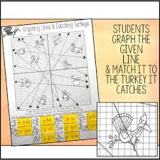 thanksgiving graphing lines activity slope intercept form tpt