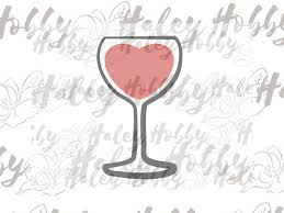 wine glass silhouette heart wine glass valentine day wine svg cut file silhouette