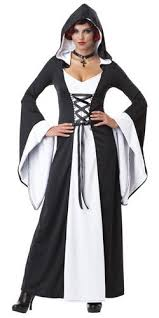 Witch Halloween Costumes Deluxe Vampire Witch Long Hooded Robe Fancy Dress Ladies Halloween