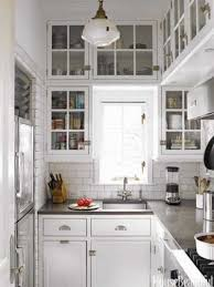 Small Kitchen Glass Front Upper Cabinets Subway Tile Coun